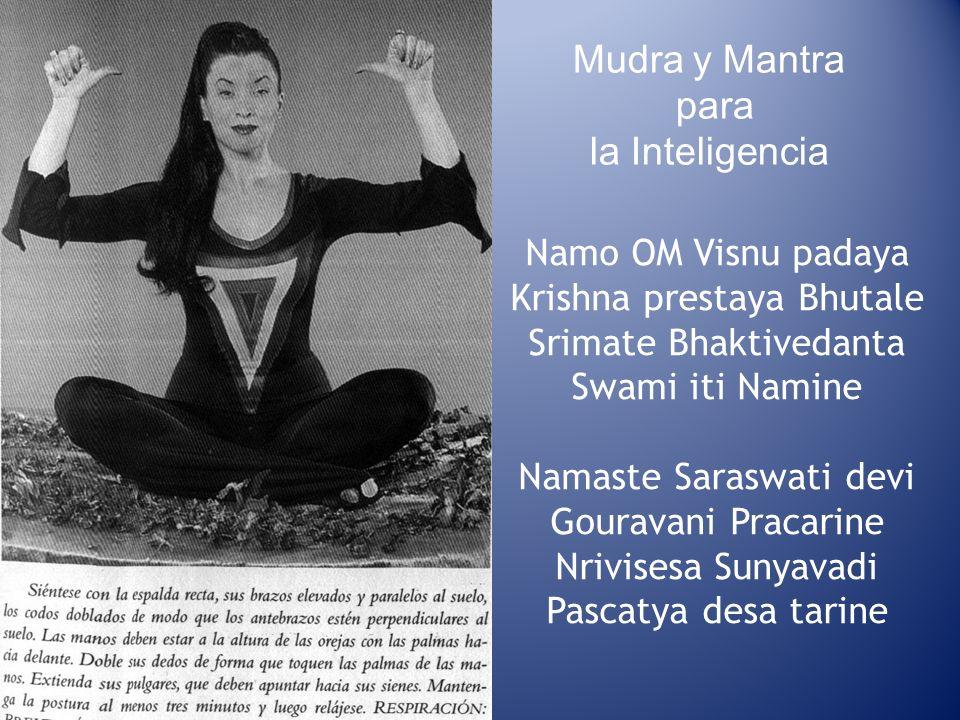Mudra y Mantra para la Inteligencia Namo OM Visnu padaya Krishna prestaya Bhutale Srimate Bhaktivedanta Swami iti Namine Namaste Saraswati devi Gourav