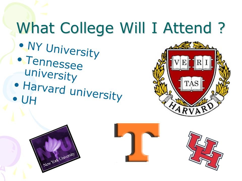 What College Will I Attend ? NY University Tennessee university Harvard university UH