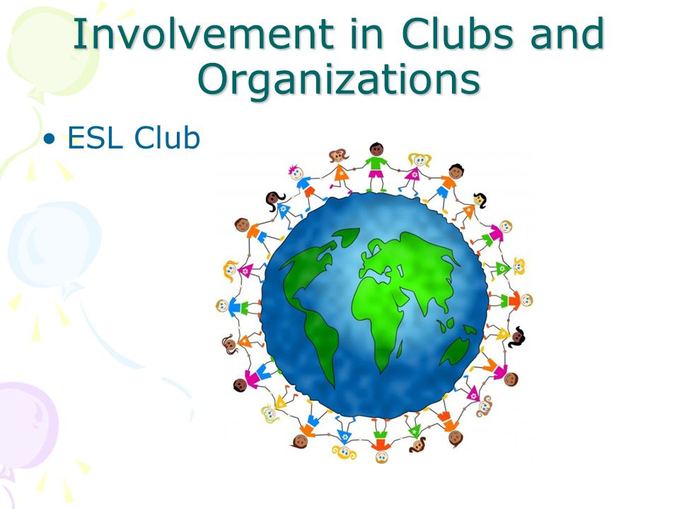 Involvement in Clubs and Organizations ESL Club