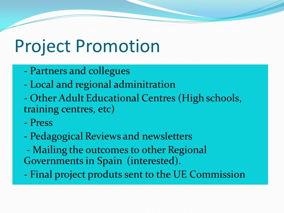 Project Promotion - Partners and collegues - Local and regional adminitration - Other Adult Educational Centres (High schools, training centres, etc) - Press - Pedagogical Reviews and newsletters - Mailing the outcomes to other Regional Governments in Spain (interested).