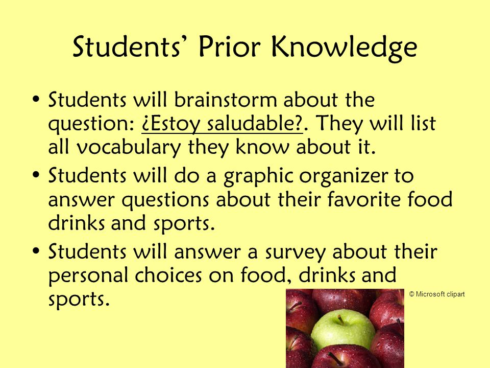 Students Prior Knowledge Students will brainstorm about the question: ¿Estoy saludable?. They will list all vocabulary they know about it. Students wi