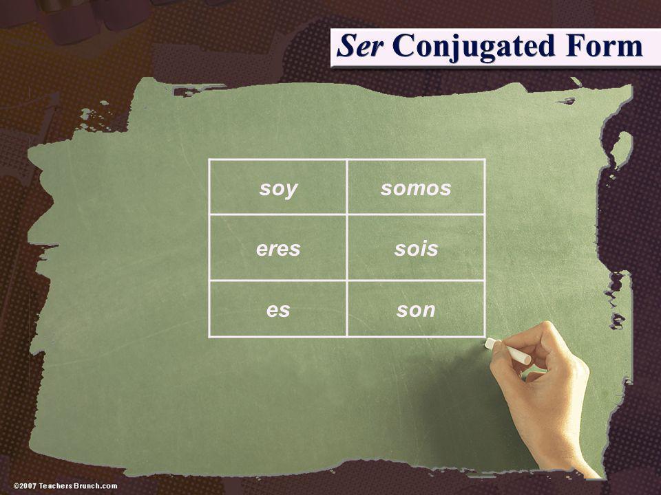 Ser Conjugated Form soysomos eressois esson