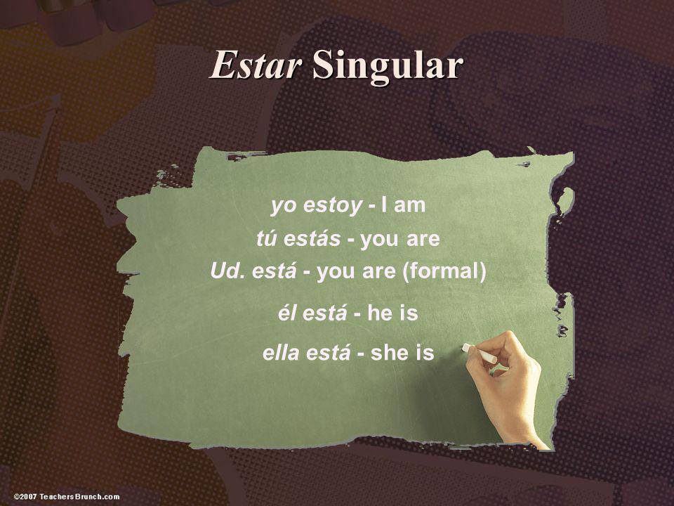 Estar Singular yo estoy - I am tú estás - you are Ud. está - you are (formal) él está - he is ella está - she is