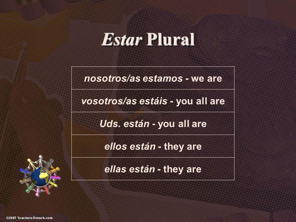 Estar Plural nosotros/as estamos - we are vosotros/as estáis - you all are Uds. están - you all are ellos están - they are ellas están - they are