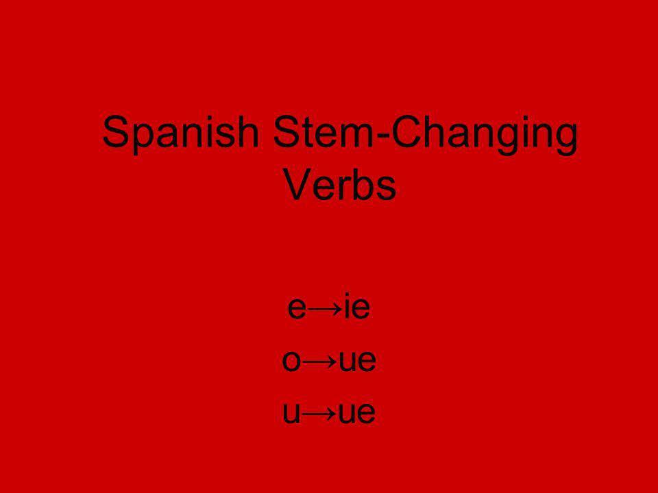 Spanish Stem-Changing Verbs eie oue uue
