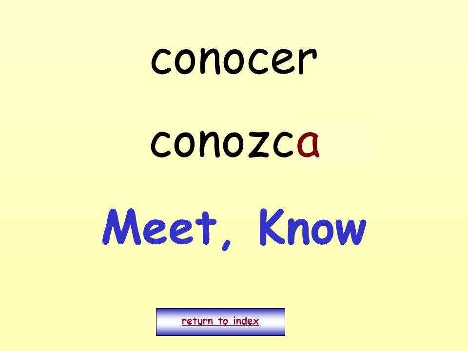conocer conozco return to index a Meet, Know
