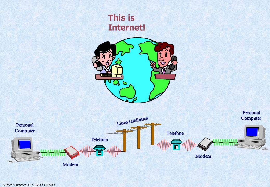 PersonalComputer PersonalComputer Modem Modem Telefono Telefono Linea telefonica Autore/Curatore GROSSO SILVIO This is Internet!