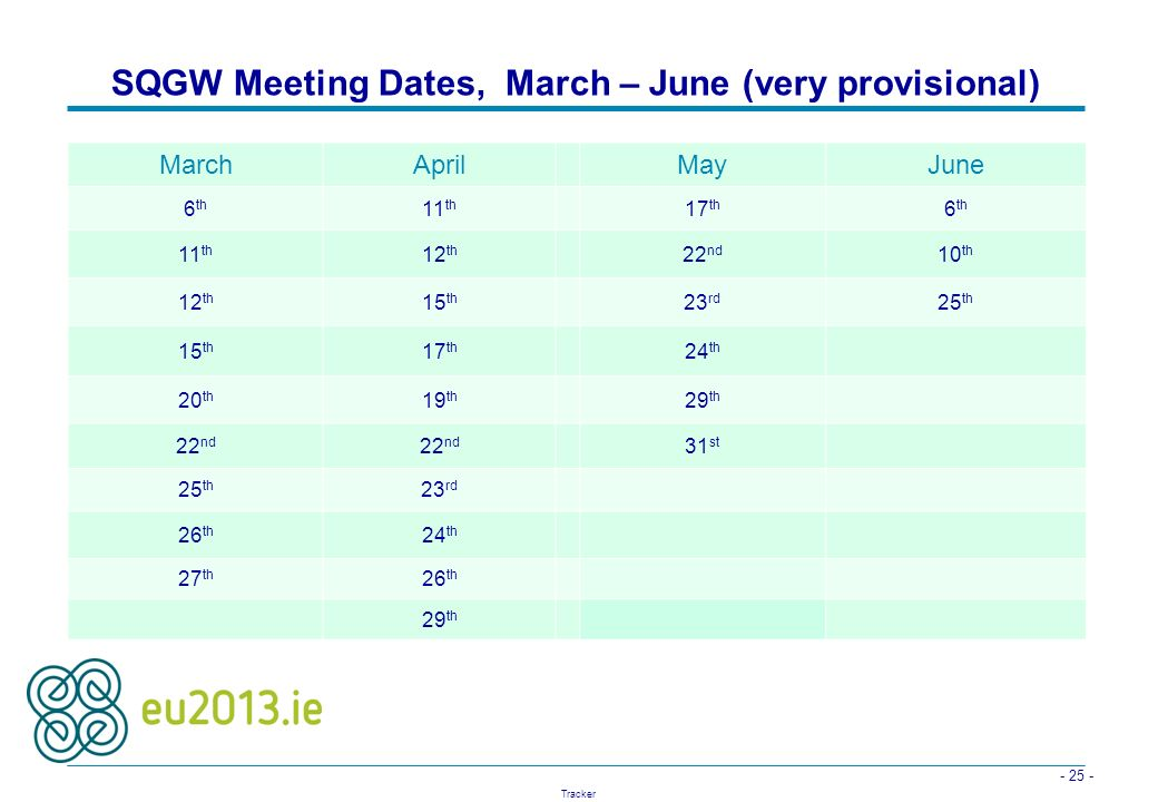 - 25 - Tracker SQGW Meeting Dates, March – June (very provisional) March AprilMayJune 6 th 11 th 17 th 6 th 11 th 12 th 22 nd 10 th 12 th 15 th 23 rd