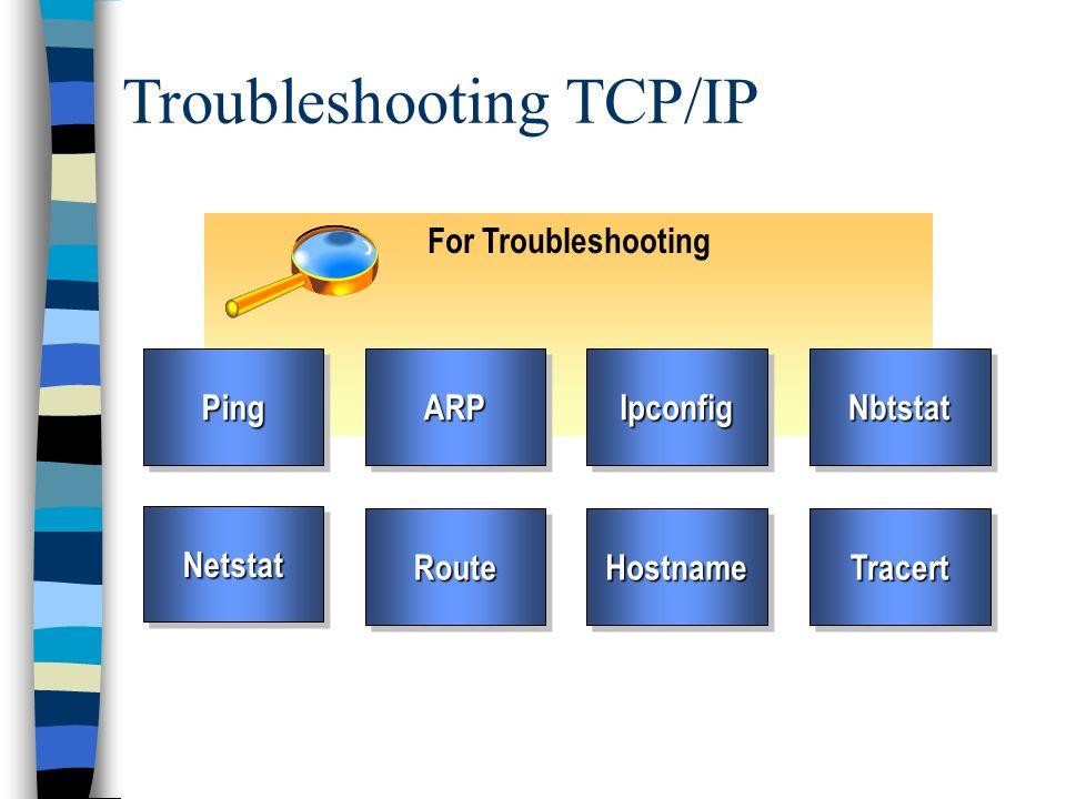 Troubleshooting TCP/IP For Troubleshooting PingPingARPARPIpconfigIpconfigNbtstatNbtstat NetstatNetstatRouteRouteHostnameHostnameTracertTracert