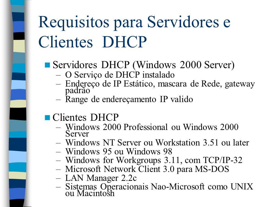 Requisitos para Servidores e Clientes DHCP Servidores DHCP (Windows 2000 Server) –O Serviço de DHCP instalado –Endereço de IP Estático, mascara de Rede, gateway padrão –Range de endereçamento IP valido Clientes DHCP –Windows 2000 Professional ou Windows 2000 Server –Windows NT Server ou Workstation 3.51 ou later –Windows 95 ou Windows 98 –Windows for Workgroups 3.11, com TCP/IP-32 –Microsoft Network Client 3.0 para MS-DOS –LAN Manager 2.2c –Sistemas Operacionais Nao-Microsoft como UNIX ou Macintosh