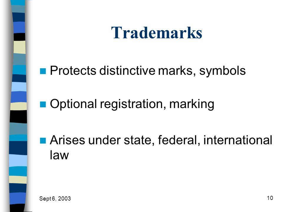 Sept 6, 2003 10 Trademarks Protects distinctive marks, symbols Optional registration, marking Arises under state, federal, international law