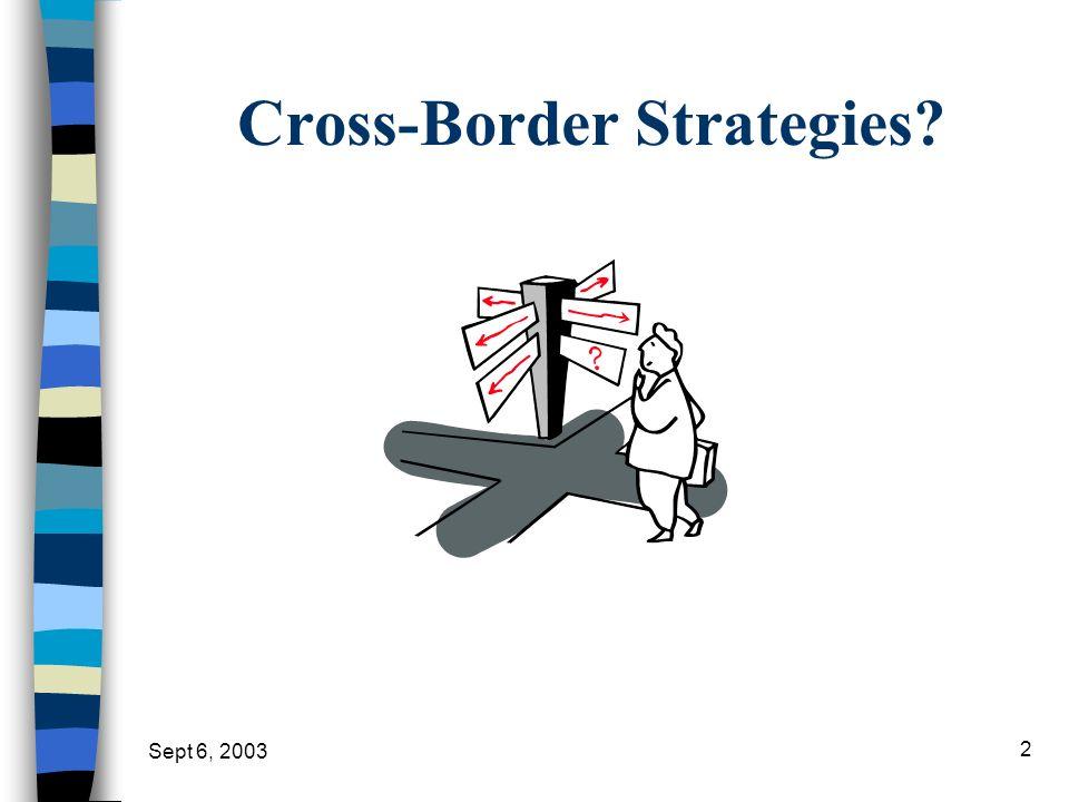 Sept 6, 2003 2 Cross-Border Strategies?