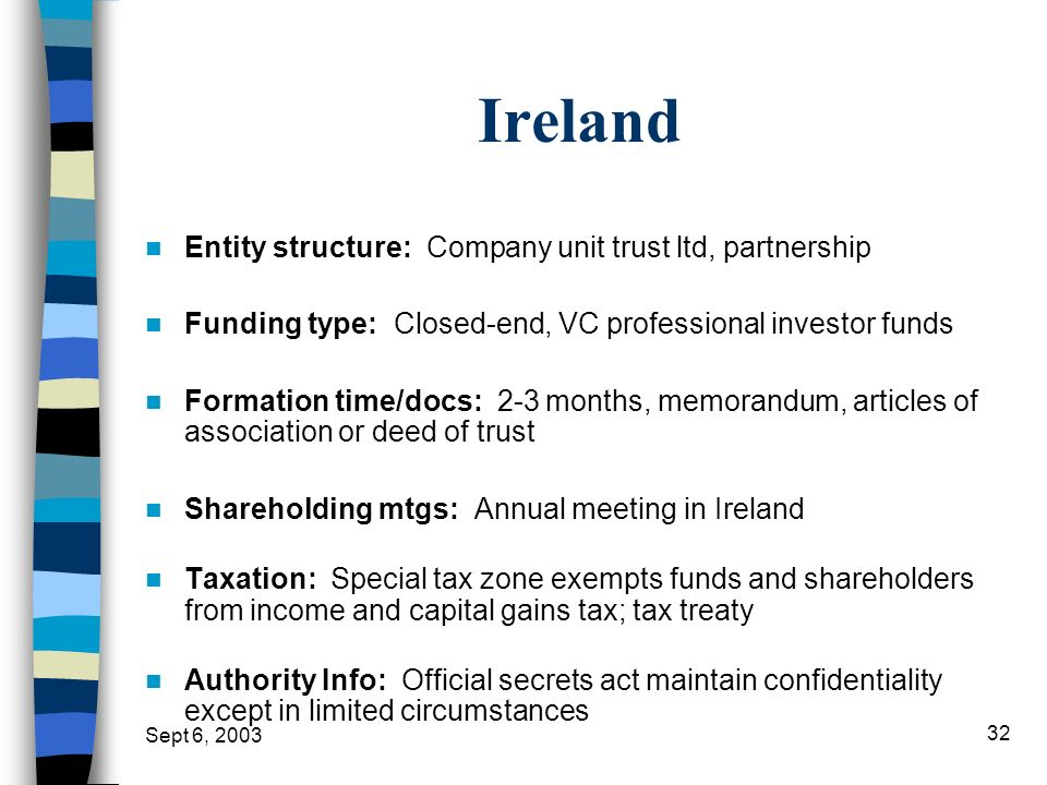 Sept 6, 2003 32 Ireland Entity structure: Company unit trust ltd, partnership Funding type: Closed-end, VC professional investor funds Formation time/