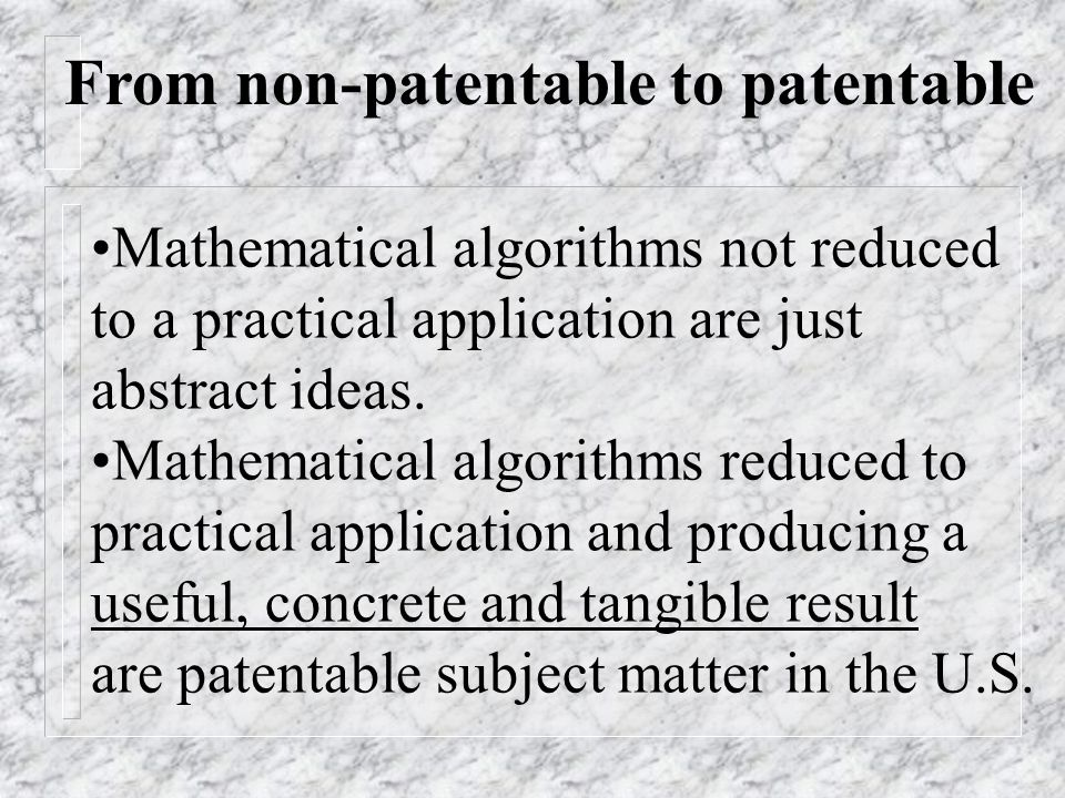 Mathematical algorithms not reduced to a practical application are just abstract ideas. Mathematical algorithms reduced to practical application and p
