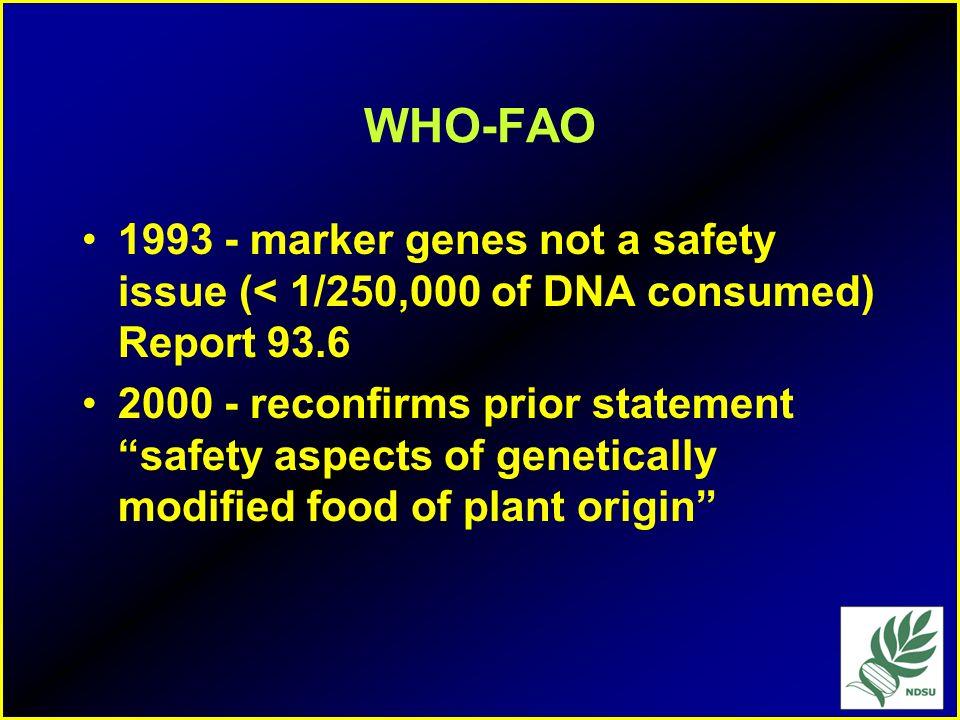 FDA Approvals 1994 - squash resistant to diseases 1995 potato insect resistant 1996 Soybean - herbicide resistance 1997 corn - corn borer resistance