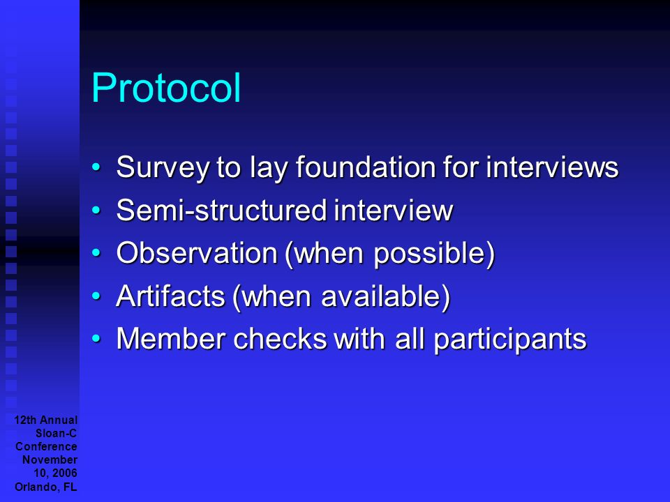 12th Annual Sloan-C Conference November 10, 2006 Orlando, FL Protocol Survey to lay foundation for interviewsSurvey to lay foundation for interviews Semi-structured interviewSemi-structured interview Observation (when possible)Observation (when possible) Artifacts (when available)Artifacts (when available) Member checks with all participantsMember checks with all participants