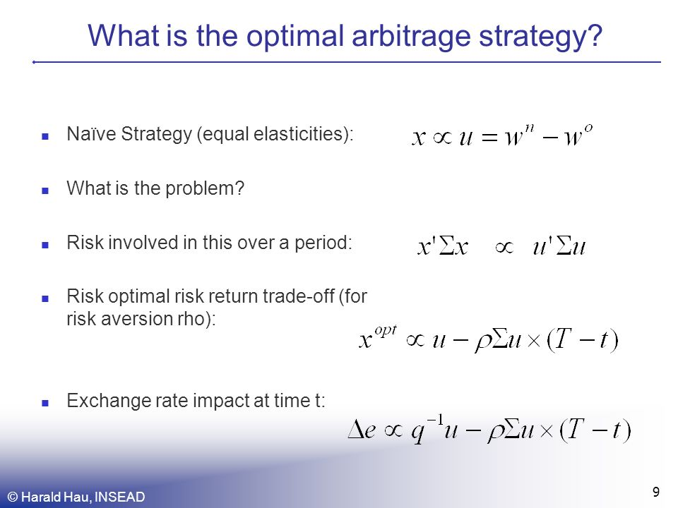 © Harald Hau, INSEAD 9 What is the optimal arbitrage strategy.