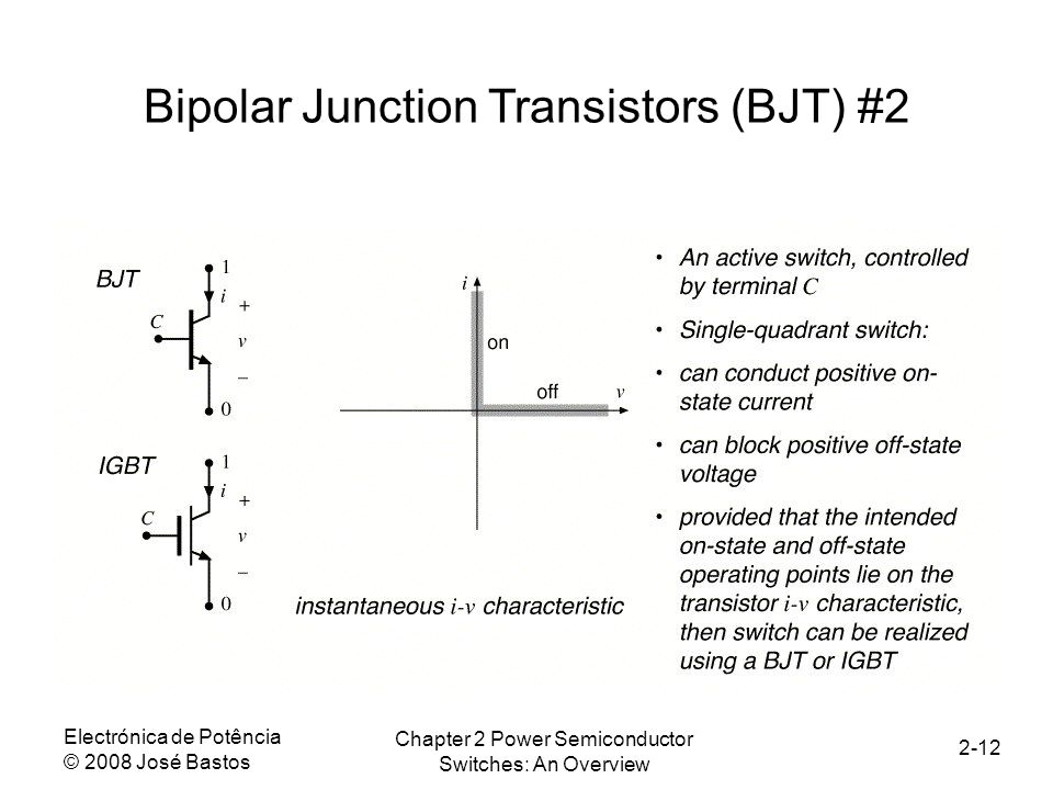 Electrónica de Potência © 2008 José Bastos Chapter 2 Power Semiconductor Switches: An Overview 2-12 Bipolar Junction Transistors (BJT) #2