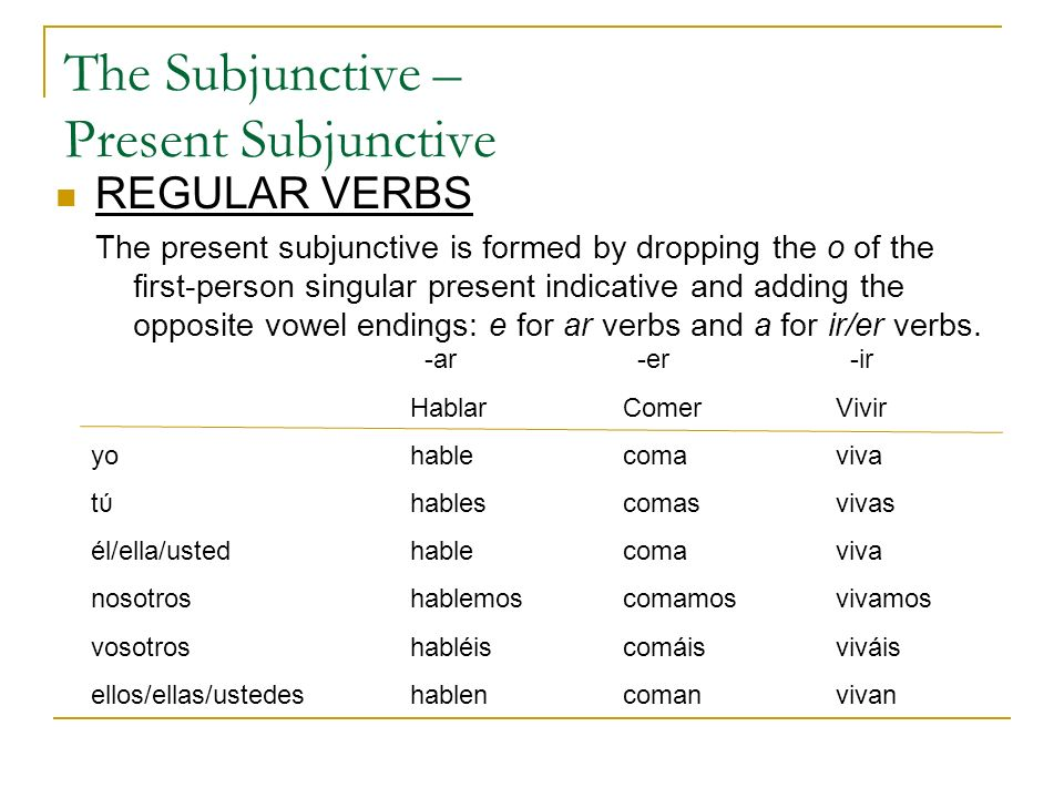 The Subjunctive – Present Subjunctive REGULAR VERBS The present subjunctive is formed by dropping the o of the first-person singular present indicativ