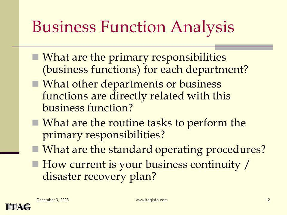 December 3, 2003 www.ItagInfo.com12 Business Function Analysis What are the primary responsibilities (business functions) for each department? What ot