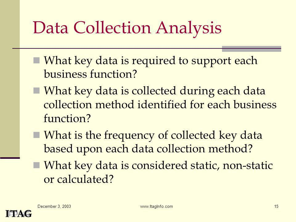 December 3, 2003 www.ItagInfo.com15 Data Collection Analysis What key data is required to support each business function? What key data is collected d