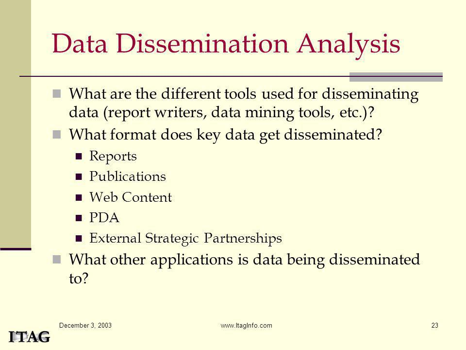December 3, 2003 www.ItagInfo.com23 Data Dissemination Analysis What are the different tools used for disseminating data (report writers, data mining