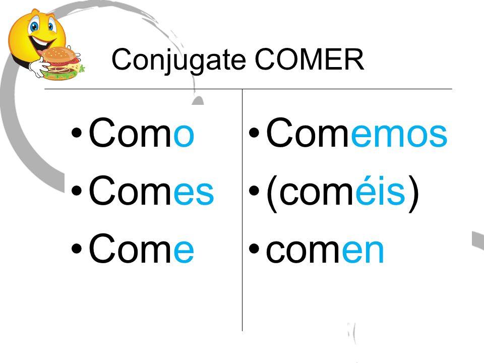 Conjugate COMER Como Comes Come Comemos (coméis) comen