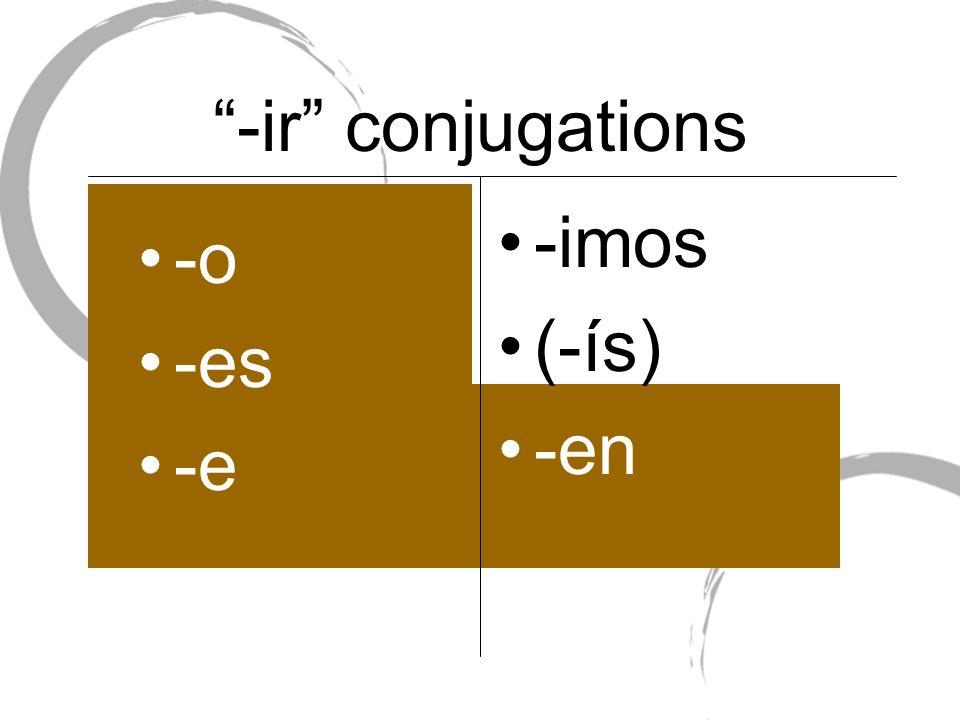 -ir conjugations -o -es -e -imos (-ís) -en