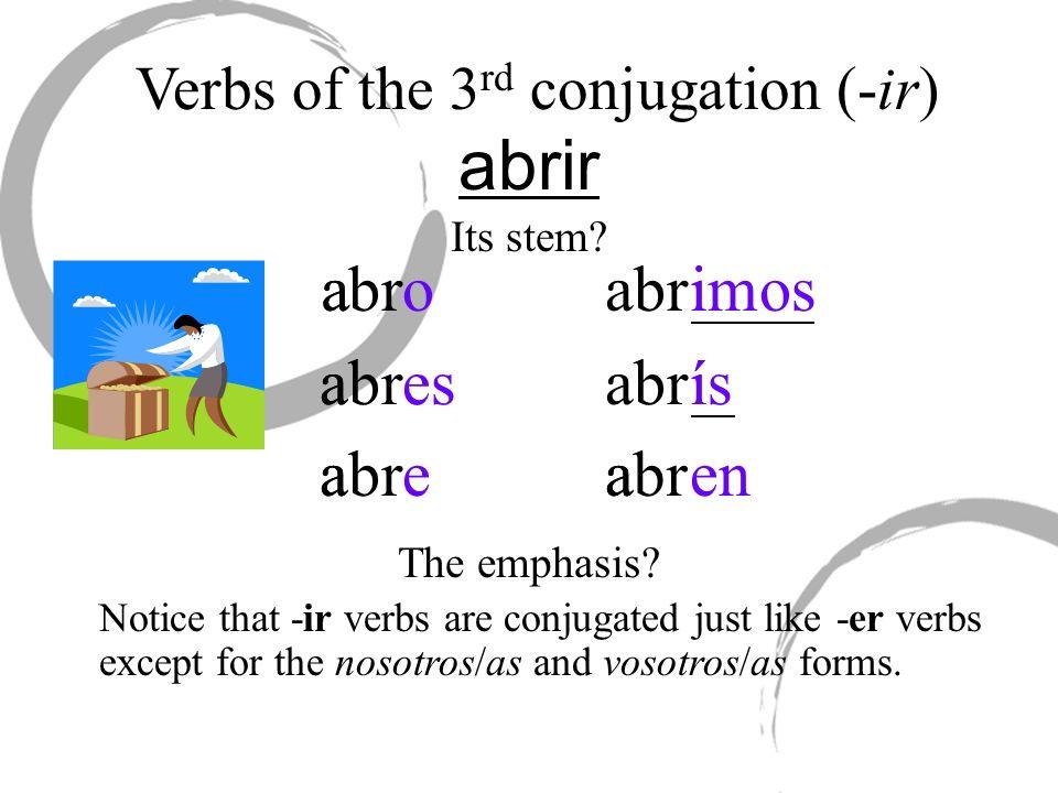 abrir iabroa a esa abrea abrmosi íabrsí abrena Verbs of the 3 rd conjugation (-ir) Its stem? The emphasis? Notice that -ir verbs are conjugated just l