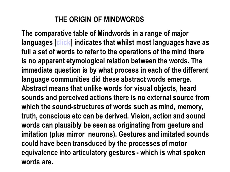 THE ORIGIN OF MINDWORDS The comparative table of Mindwords in a range of major languages [click] indicates that whilst most languages have as full a s