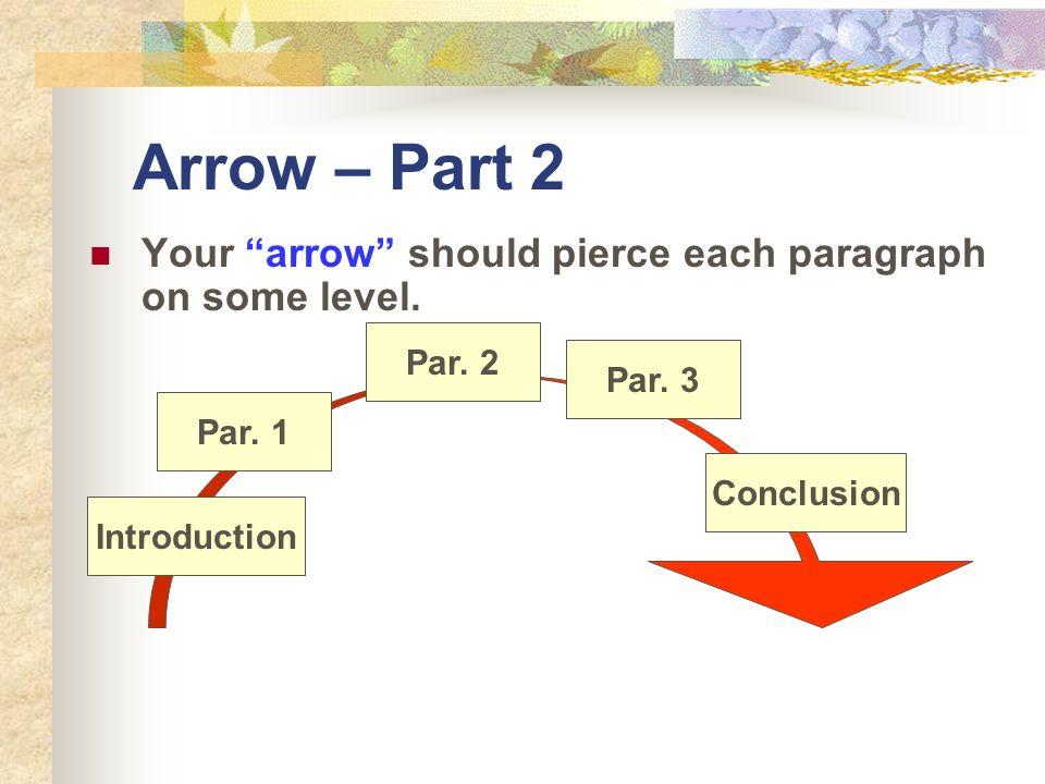 Arrow – Part 2 Your arrow should pierce each paragraph on some level. Introduction Par. 1 2 3 Conclusion