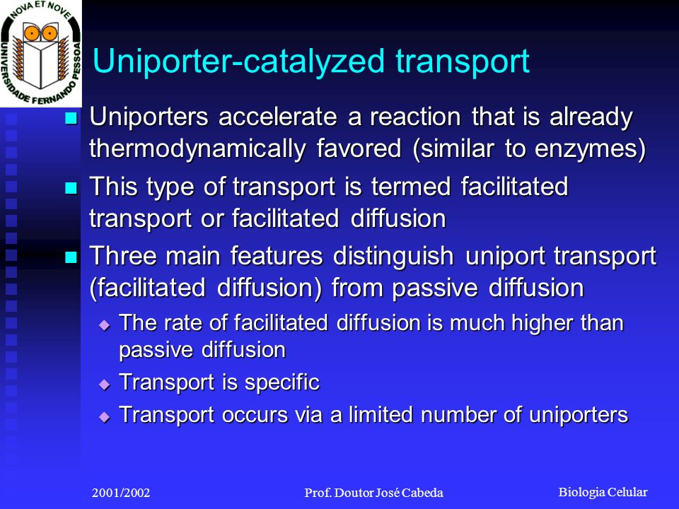 Biologia Celular 2001/2002Prof. Doutor José Cabeda Uniporter-catalyzed transport Uniporters accelerate a reaction that is already thermodynamically fa