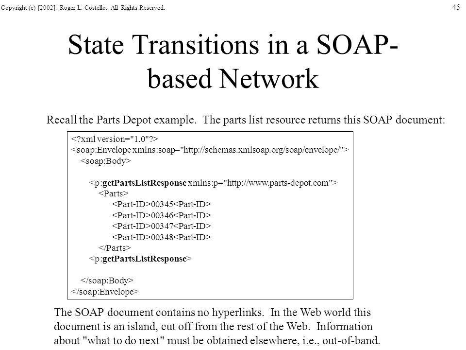 Copyright (c) [2002]. Roger L. Costello. All Rights Reserved. 45 State Transitions in a SOAP- based Network Recall the Parts Depot example. The parts