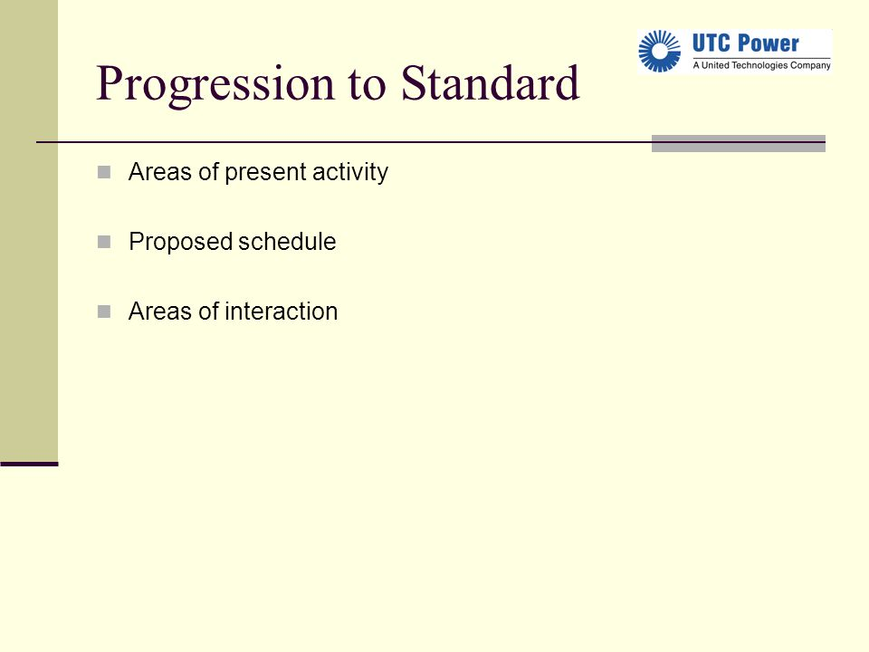 Progression to Standard Areas of present activity Proposed schedule Areas of interaction