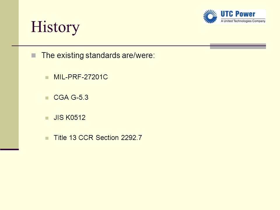 History The existing standards are/were: MIL-PRF-27201C CGA G-5.3 JIS K0512 Title 13 CCR Section