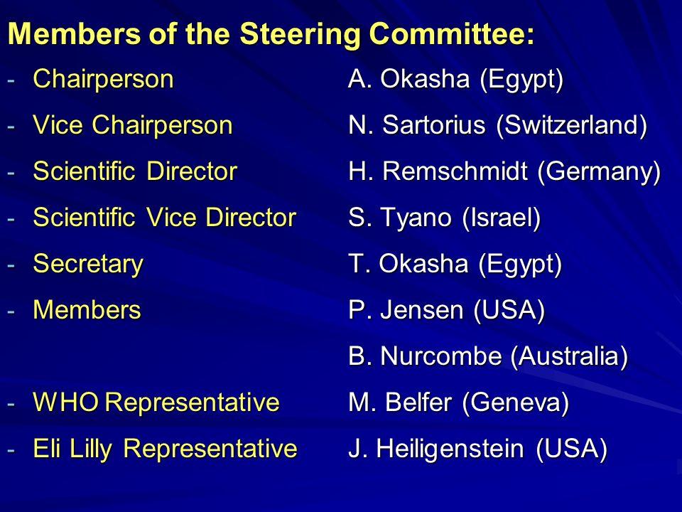 Members of the Steering Committee: - ChairpersonA. Okasha (Egypt) - Vice ChairpersonN. Sartorius (Switzerland) - Scientific Director H. Remschmidt (Ge