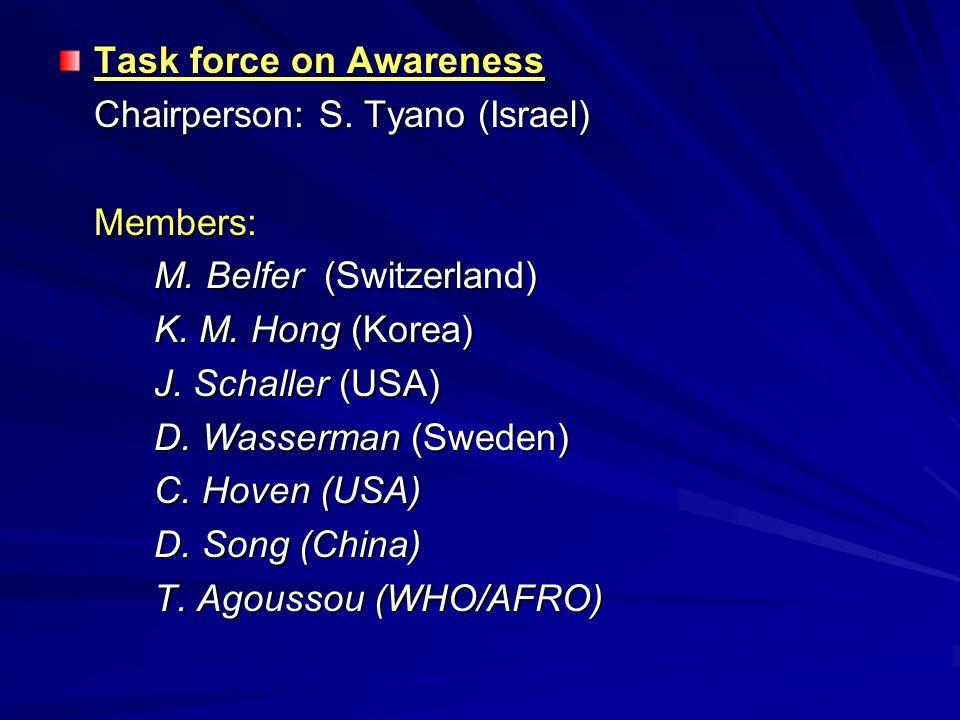 Task force on Awareness Chairperson: S. Tyano (Israel) Members: M. Belfer (Switzerland) M. Belfer (Switzerland) K. M. Hong (Korea) J. Schaller (USA) D
