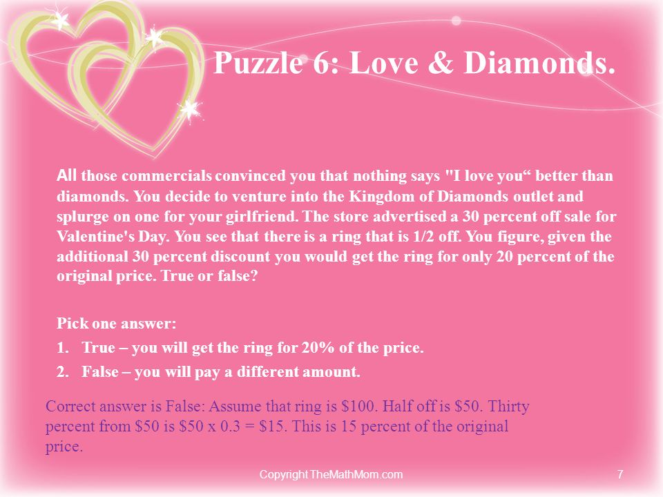 Puzzle 6: Love & Diamonds. All those commercials convinced you that nothing says