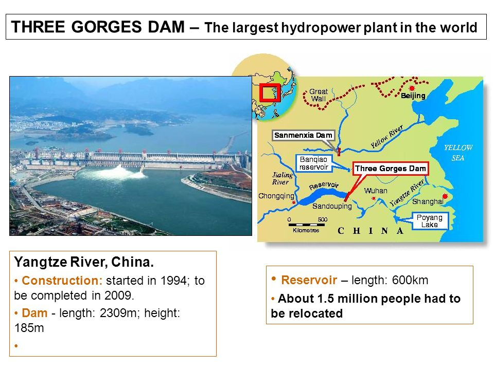 THREE GORGES DAM – The largest hydropower plant in the world Yangtze River, China. Construction: started in 1994; to be completed in 2009. Dam - lengt