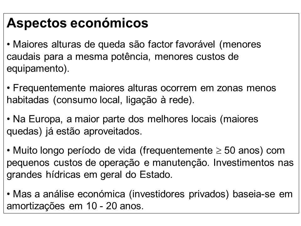 Aspectos económicos Maiores alturas de queda são factor favorável (menores caudais para a mesma potência, menores custos de equipamento). Frequentemen