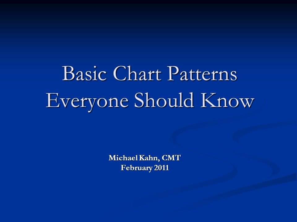 Basic Chart Patterns Everyone Should Know Michael Kahn, CMT February 2011