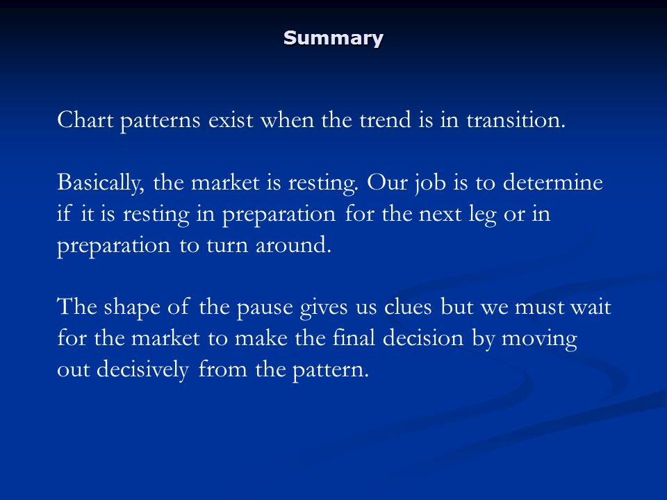 Summary Chart patterns exist when the trend is in transition.