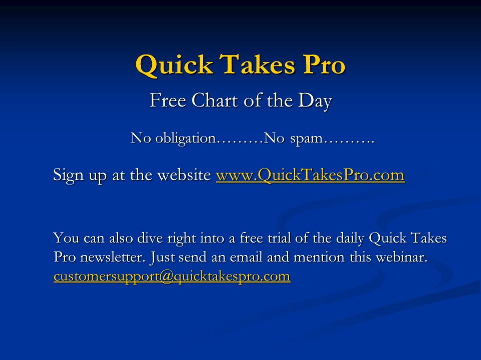 Quick Takes Pro Free Chart of the Day No obligation………No spam………. Sign up at the website www.QuickTakesPro.com www.QuickTakesPro.com You can also dive