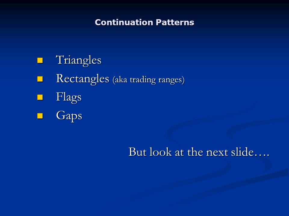Continuation Patterns Triangles Triangles Rectangles (aka trading ranges) Rectangles (aka trading ranges) Flags Flags Gaps Gaps But look at the next slide….