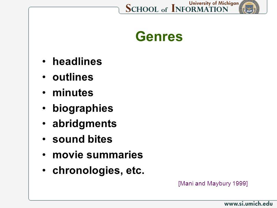 Genres headlines outlines minutes biographies abridgments sound bites movie summaries chronologies, etc. [Mani and Maybury 1999]