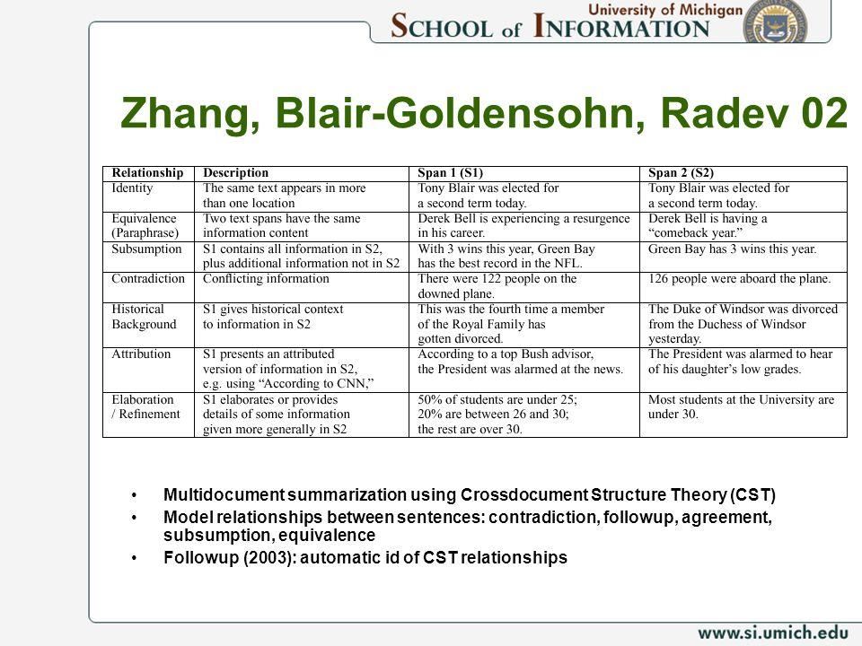 Zhang, Blair-Goldensohn, Radev 02 Multidocument summarization using Crossdocument Structure Theory (CST) Model relationships between sentences: contra