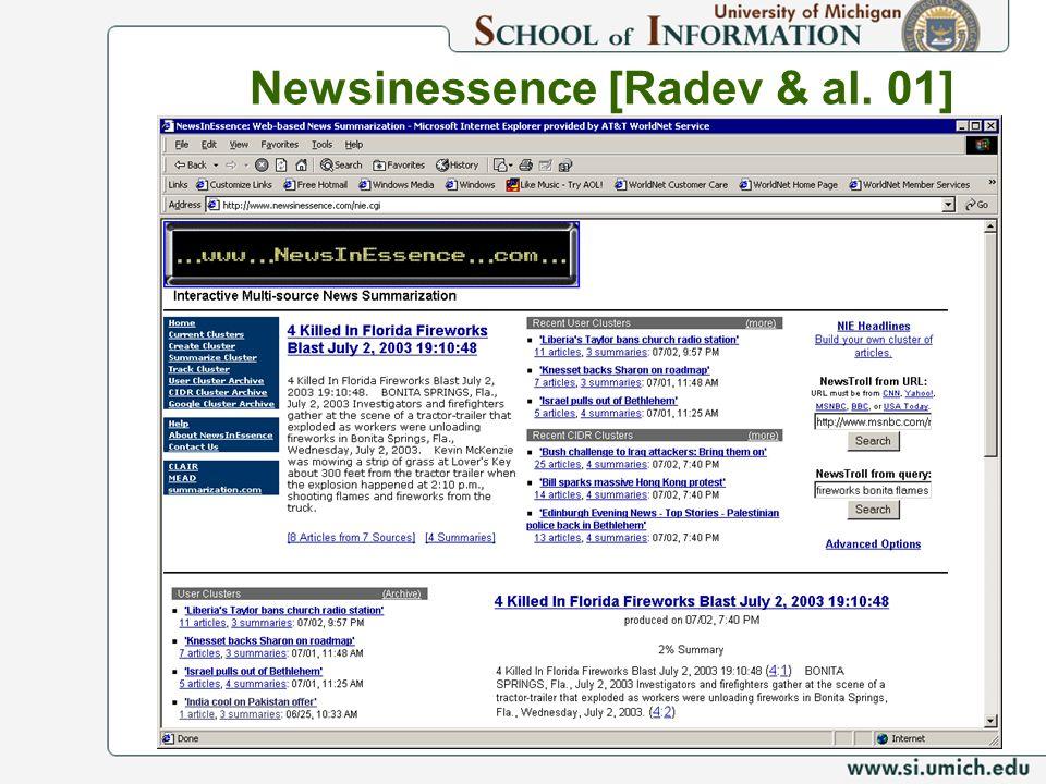 Newsinessence [Radev & al. 01]