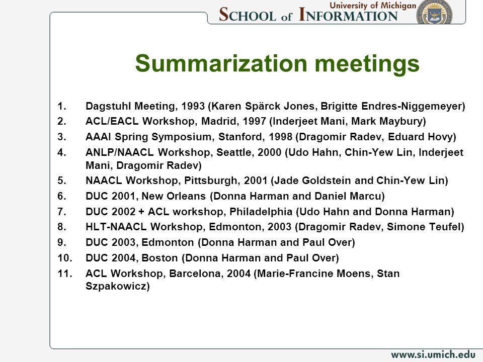 Summarization meetings 1.Dagstuhl Meeting, 1993 (Karen Spärck Jones, Brigitte Endres-Niggemeyer) 2.ACL/EACL Workshop, Madrid, 1997 (Inderjeet Mani, Ma