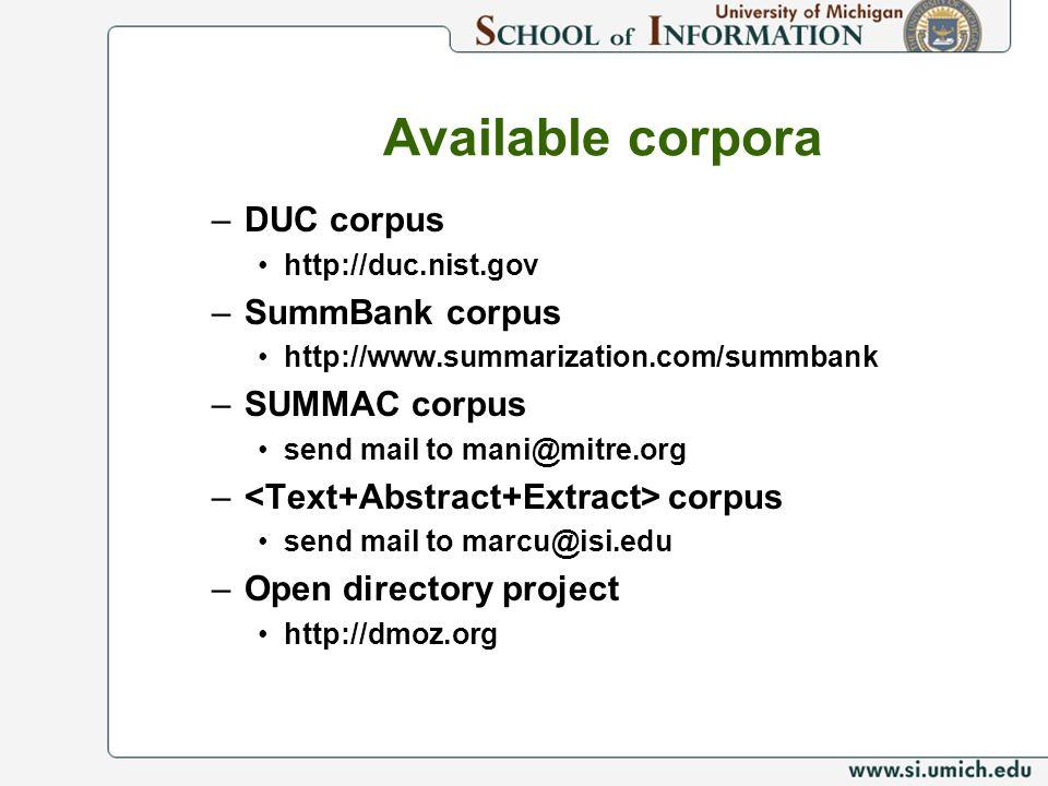 Available corpora –DUC corpus http://duc.nist.gov –SummBank corpus http://www.summarization.com/summbank –SUMMAC corpus send mail to mani@mitre.org –