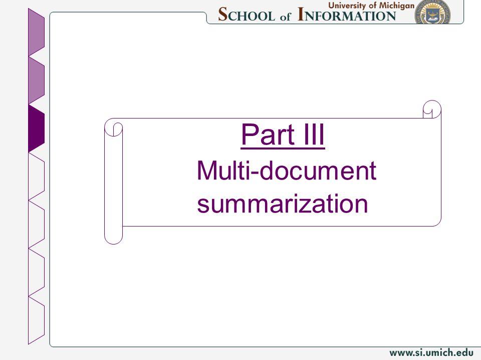 Part III Multi-document summarization